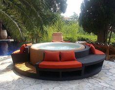 modern patio ideas softub portable hot tub seating area garden pool