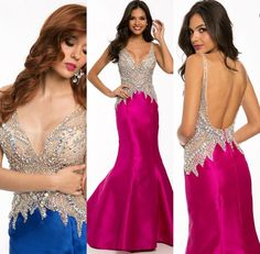 Wholesale Formal Gown - Buy Boutiqu Designer Prom Dress 2015 Sexy V Neck Plunging Neckline Sleeveless Mermaid Floor Length Gorgeous Crystal Beads Satin Evening Dress, $144.19 | DHgate