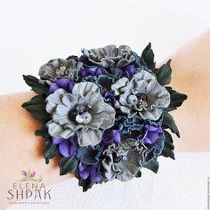Купить Браслет из кожи - цветы из кожи, браслет с цветами, браслет из кожи, букет цветов