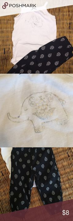 👭 elephant and puffer pants outfit Two pieces. Onesie snaps in stride. Silver elephant. Pants have elastic waist and ankles. NWOT Carter's Matching Sets