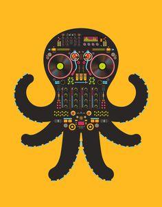 DJ Octopus by Tony Bamber, via Behance