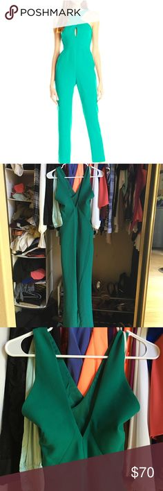BCBG Emerald Fitted Jumpsuit Perfect emerald color! New with tags. This jumpsuit is a true 0 it's very small on top it didn't close on me . BCBGeneration Pants Jumpsuits & Rompers