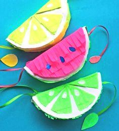 Fruity pinatas - templates and tutorials at happythought.co.uk