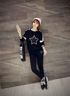 Korean Fashion - Star pattern sports suit
