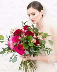 Breathtakingly beautiful magenta and pink wedding bouquet.