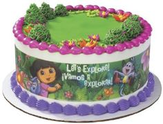 This is a decorative edible image that you wrap around your birthday cake.  It would be super cute for your child's Dora the Explorer birthday party.  Please visit my page for more party ideas such as tableware, invitations, party favors and other cake supplies.