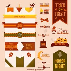 Collection of halloween vector ribbons and decoration  Free Vector