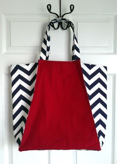 Navy and Red Chevron Tote Bag Beach Bag by KraftsbyViktorija, $43.00