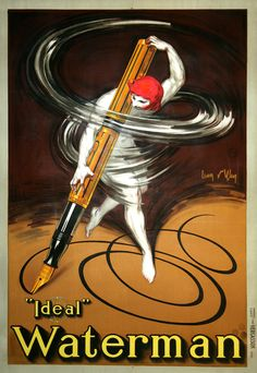 This latest original poster is for famous Waterman fountain pens. This poster has become very rare and sought-after, so we are pleased to have found one for our inventory! It is by Jean D'Ylen, and it was printed in 1927!