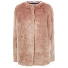 Pinko Faux Fur Coat (17 125 UAH) ❤ liked on Polyvore featuring outerwear, coats, jackets, blazer, fur, pinko coat, fake fur coat, beige coat, imitation fur coats and blazer jacket