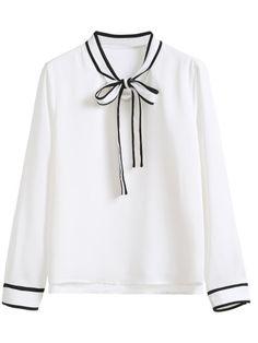 Blusa con ribete rayado y lazo en cuello - blanco