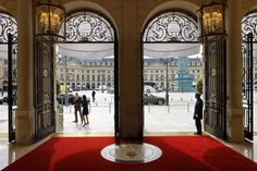 The Place Vendôme entrance at the Ritz Paris, facing the plaza commissioned by Louis XIV in the late 17th century.