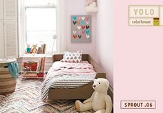 Pretty in pink, Sprout .06 is sweet as strawberry ice cream and soft as a teddy bear. Against more vibrant colors and patterns, it's the perfect quiet companion to Land of Nod's New School Kids Bedding.