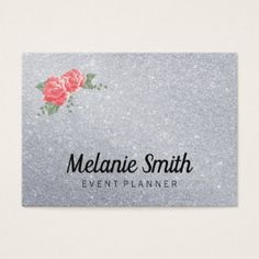 Elegant Flowers and Glitter Business Card - glitter gifts personalize gift ideas unique