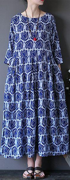 US$ 23.99 O-NEWE Vintage Flower Printed 3/4 Sleeves O-neck Dresses