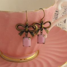 Antique Brass Bow Earrings with Pink by vintagejewellerybox, £7.00