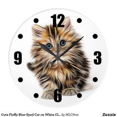 Cute Fluffy Blue-Eyed Cat on White Clock