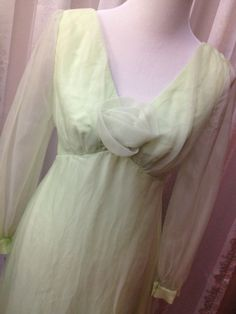 Chiffon Dress Vintage 60'sMint Green Mother of by Dirty30Vintage