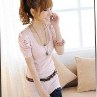 $7.80 Pink Ruched Sleeve top 2 left!