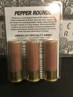 12 Gauge Pepper Rounds I would use these as a distraction if I was leading a hoard into an eneny camp shoot them in the face so it's harder to fight back and no waste of good ammo Survival Weapons, Tactical Survival, Survival Prepping, Tactical Gear, Tactical Shotgun, Firearms, Shotguns, Revolvers, Home Defense
