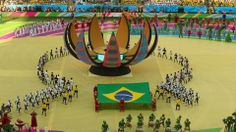 SAO PAULO, BRAZIL - JUNE 12: Artists perform during the Opening Ceremony of the 2014 FIFA World Cup Brazil prior to the Group A match between Brazil and Croatia at Arena de Sao Paulo on June 12, 2014 in Sao Paulo, Brazil. (Photo by Elsa/Getty Images)