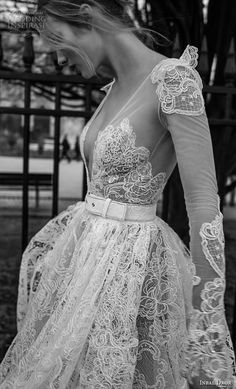 inba dror fall 2018 bridal long sleeves deep v neck full embellishment romantic tea length short wedding dress open v back (5) zv