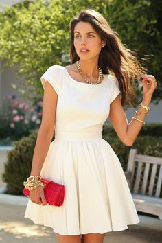 Shop White Short Sleeve Open Back Flare Dress online. SheIn offers White Short Sleeve Open Back Flare Dress & more to fit your fashionable needs. Beauty And Fashion, Look Fashion, Womens Fashion, Dress Fashion, Trendy Fashion, Lady Like, Grunge Style, Mode Inspiration, Dress Me Up