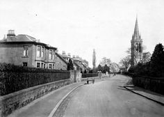 Exactly the same today with this view looking down Alexandra Street towards St. David's and Park Memorial Church. Kirkintilloch Bowling Club is behind the hedge on the left. Old Images, Hedges, Glasgow, Genealogy, Scotland, Irish, Sidewalk, Photograph, Memories