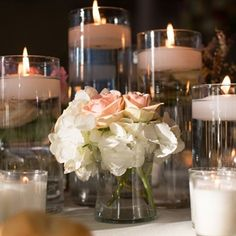 Floating Candle Centerpiece. Good combination!