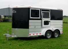 2 Horse Bravura - black skin, bumper pull horse trailer