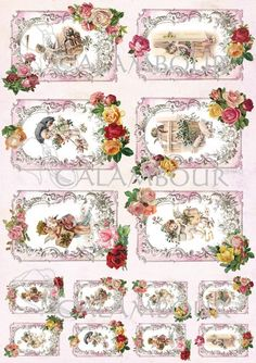 Calambour paper, glossy, light with great adhesion. Pattern: angels, children, roses, presents and pig.