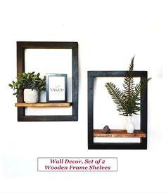 Frame Shelf, Wood Wall Shelf, Wooden Shelves, Mounted Shelves, Diy Room Decor, Bedroom Decor, Home Decor, Modern Floating Shelves, Floating Frame