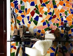 Colourful mosaics wall mural