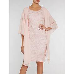 Buy Gina Bacconi Embroidered Net Dress, Blush, 8 Online at johnlewis.com