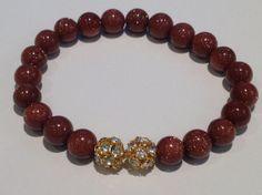 Bracelet  Beaded  gold Goldstone beads with two gold by UniqBeadz, $20.00