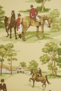 Equestrian wallpaper Buttermilk Wallpaper with illustrated hunting scenes in greens and reds.