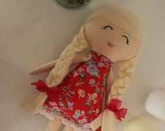 Blonde Doll, Red Flower Dress Doll, Rag Doll, Cloth Doll, Girl Gift, Handmade Doll, Stuffed Toy, Fabric Doll, Soft Doll, Textile Doll