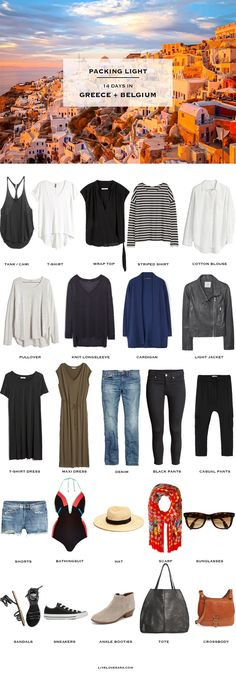 What to pack for Greece and Belgium Packing Light List for June light tips Travel Wardrobe, Capsule Wardrobe, Travel Outfit Summer, Summer Outfits, Summer Travel, Travel Capsule, Vacation Outfits, Travel Outfits, Packing Light