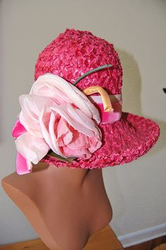 Fabulous Vintage 1960s Pink Straw Hat w Cabbage by theuptownpurr, $75.00