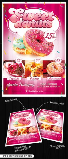 Sweet Donuts Flyer PSD is the perfect template for restaurants, bakeries or coffee shops, that serves special desserts at a affordable price with the best ingredients. This template will deliver a delicious message for those pastries lovers that seek a place to dig in up to their standards.