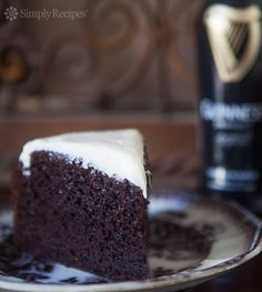 Chocolate Guinness Cake ~ Rich, moist, chocolate cake spiked with stout beer. Malty, sweet, and perfect for a St. Patrick's day party.  ~ SimplyRecipes.com