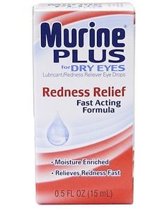 Murine Plus Lubricant Redness Relief Eye Drops. Temporarily relieves burning and irritations due to dryness of the eye. Relieves redness of the eye. Protects against further irritation. Variations dimensions: Size.