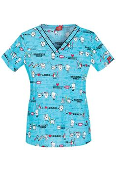 Everyday Scrubs by Dickies Women's V-Neck Print Top - Beautiful Smile Print #Scrubs #Dental_Scrubs | allheart.com