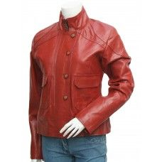 Women's Lovely Antique Style Maroon Leather Jacket - Iba