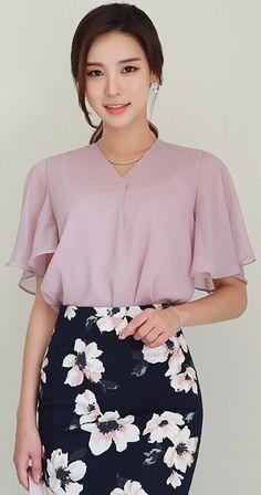 StyleOnme_Glittery Angel Sleeve V-Neck Blouse #pink #blouse #koreanfashion #kstyle #kfashion #seoul #feminine #dailylook