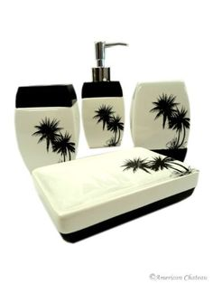 4 Piece Black Palm Tree Tropical Bathroom Accessory Set $19.99 OHH! Black and white and palm trees, I just died!