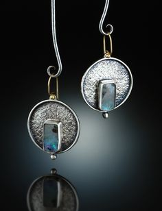 Boulder Opal Earrings. Fabricated Sterling Silver & 14k. www.amybuettner.com https://www.facebook.com/pages/Metalsmiths-Amy-Buettner-Tucker-Glasow/101876779907812?ref=hl