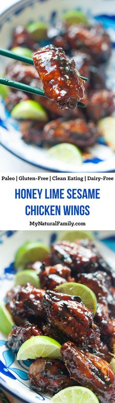 Honey Lime Sesame Paleo Wings Recipe - My Natural Family Honey Lime Sesame Chicken Wings Recipe {Paleo, Gluten Free, Clean Eating, Dairy Free} Sesame Chicken Wings Recipe, Paleo Chicken Wings, Chicken Wing Recipes, Chicken Meals, Cuban Chicken, Lime Chicken, Teriyaki Chicken, Recipe Chicken, Healthy Chicken