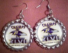 Baltimore Ravens Inspired Earrings by HochePotBoutique on Etsy, $10.00