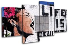 Bold Bloc Design - Life is Beautiful Banksy Street - 80x45cm Canvas Art Print Box Framed Picture Wall Hanging - Hand Made In The UK - Framed And Ready To Hang Bold Bloc Design http://www.amazon.com/dp/B00J4RE0GK/ref=cm_sw_r_pi_dp_ybrbub0QNGSBN